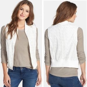 Kut from the Kloth Naara White Lace Moto Vest XS